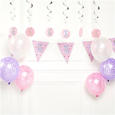 Pink 16th Birthday Glitz Decoration Kit - Value