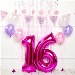 Pink 16th Birthday Glitz Decoration Kit - Premium