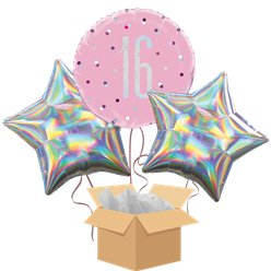 Pink Glitz 16th Birthday Balloon Bouquet - Delivered Inflated