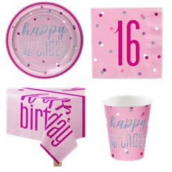 Pink 16th Birthday Glitz Party Pack - Value Pack for 8