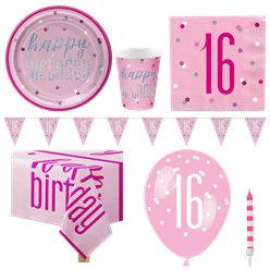 Pink 16th Birthday Glitz Party Pack - Deluxe Pack for 8