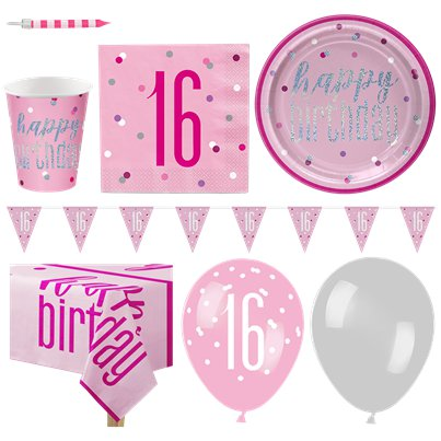 Pink 16th Birthday Glitz Party Pack - Deluxe Pack for 16