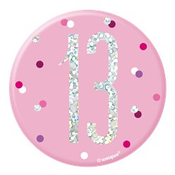 Pink Birthday Glitz Age 13 Badge - 7cm