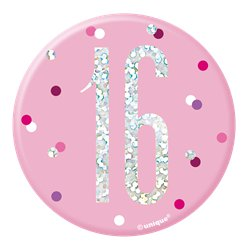Pink Birthday Glitz Age 16 Badge - 7cm