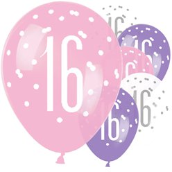 Pink Birthday Glitz Age 16 Latex Balloons - 12""