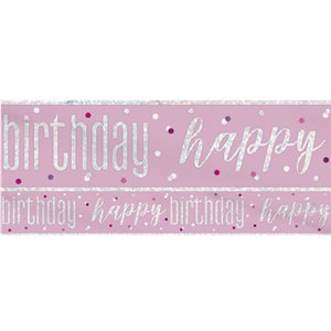 Pink Birthday Glitz Happy Birthday Banner - 2.75m