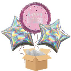 Pink Glitz Happy Birthday Balloon Bouquet - Delivered Inflated