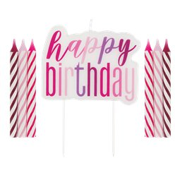 Pink Birthday Glitz Candles Set