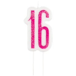 Pink Birthday Glitz Age 16 Candle