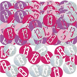 Pink Birthday Glitz Age 13 Confetti - 14g bag