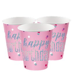 Pink Birthday Glitz Cups - 266ml