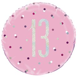 Pink Birthday Glitz Age 13 Foil Balloon - 18""