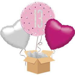 Pink Glitz 13th Birthday Balloon Bouquet - Delivered Inflated