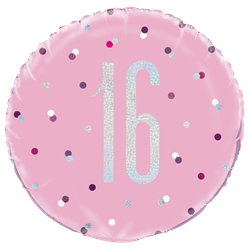 Pink Birthday Glitz Age 16 Foil Balloon - 18""