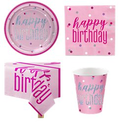 Pink Birthday Glitz Party Pack - Value Pack for 8
