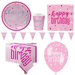 Pink Birthday Glitz Party Pack - Deluxe Pack for 8