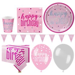 Pink Birthday Glitz Party Pack - Deluxe Pack for 16