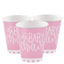 Pink Hearts Baby Shower Paper Cups - 266ml