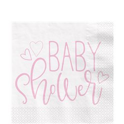 Pink Hearts Baby Shower Luncheon Napkins