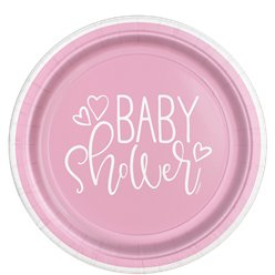 Pink Hearts Baby Shower Plates - 23cm