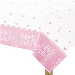 Pink Hearts Baby Shower Plastic Tablecover - 1.4m x 2.1m
