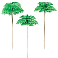 Palm Tree Honeycomb Drink Picks - 10cm