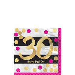 30th Pink & Gold Milestone Paper Cocktail Napkins - 25cm