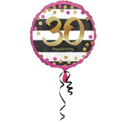 "30th Pink & Gold Milestone Balloon - 18"" Foil"