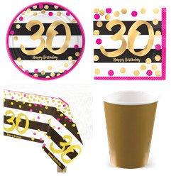 30th Pink Gold Party Pack - Value Kit for 8