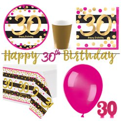 30th Pink Gold Party Pack - Deluxe Kit for 8