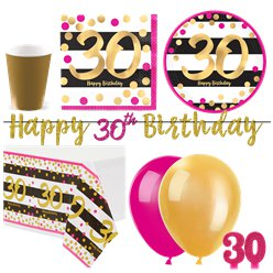 30th Pink Gold Party Pack - Deluxe Kit for 16