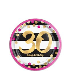 30th Pink & Gold Milestone Paper Plates - 18cm