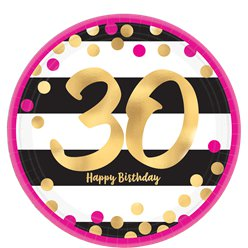 30th Pink & Gold Milestone Paper Plates - 23cm