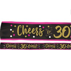 30th Pink & Gold Milestone Sash