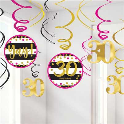 30th Pink & Gold Milestone Hanging Swirls