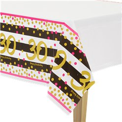 30th Pink & Gold Milestone Plastic Tablecover - 1.37m x 2.59m