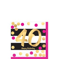 40th Pink & Gold Milestone Paper Cocktail Napkins - 25cm