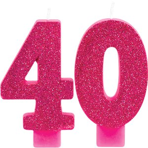 40th Pink & Gold Milestone Candles