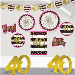 40th Pink & Gold Milestone Decorating Kit