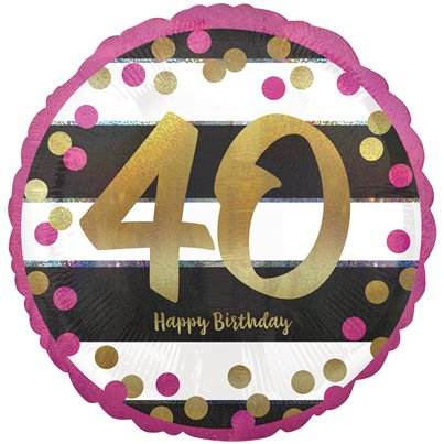 "40th Pink & Gold Milestone Balloon - 18"" Foil"