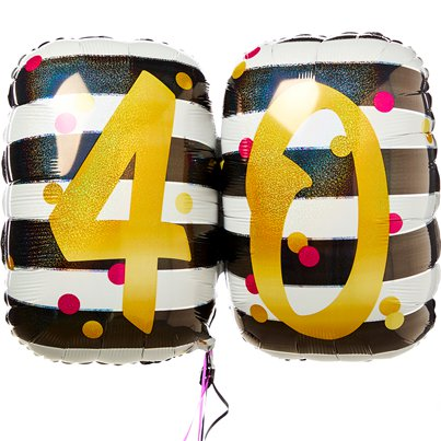 "40th Pink & Gold Milestone SuperShape Balloon - 30"" Foil"