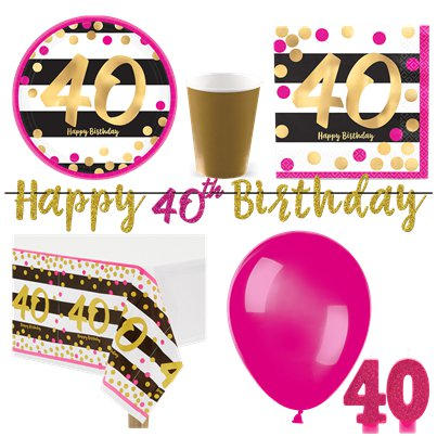 40th Pink & Gold Party Pack - Deluxe Pack for 8