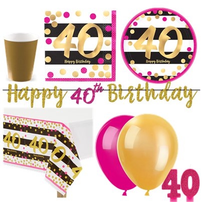 40th Pink & Gold Party Pack - Deluxe Pack for 16