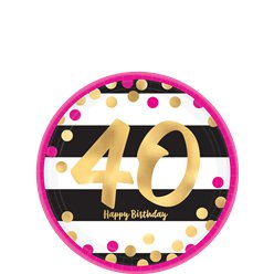 40th Pink & Gold Milestone Paper Plates - 18cm