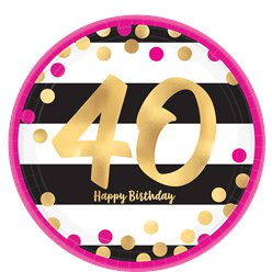 40th Pink & Gold Milestone Paper Plates - 23cm