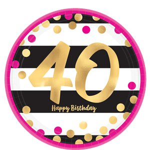40th Pink & Gold Party Pack - Value Pack for 8
