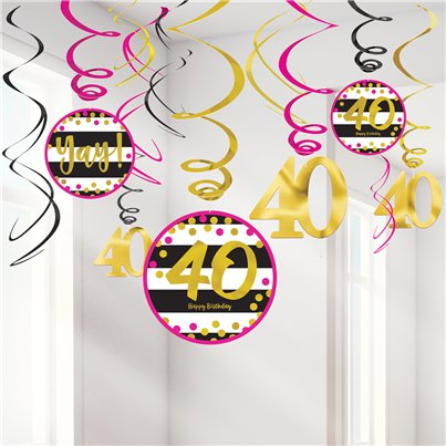 40th Pink & Gold Milestone Hanging Swirls