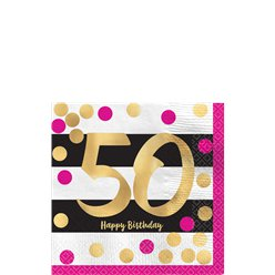 50th Pink & Gold Milestone Cocktail Napkins