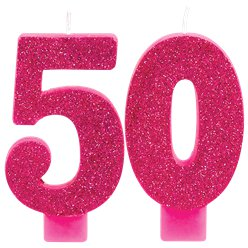 50th Pink & Gold Milestone Candles