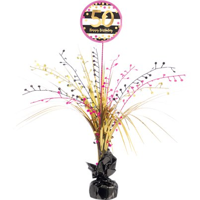 50th Pink & Gold Milestone Spray Centrepiece